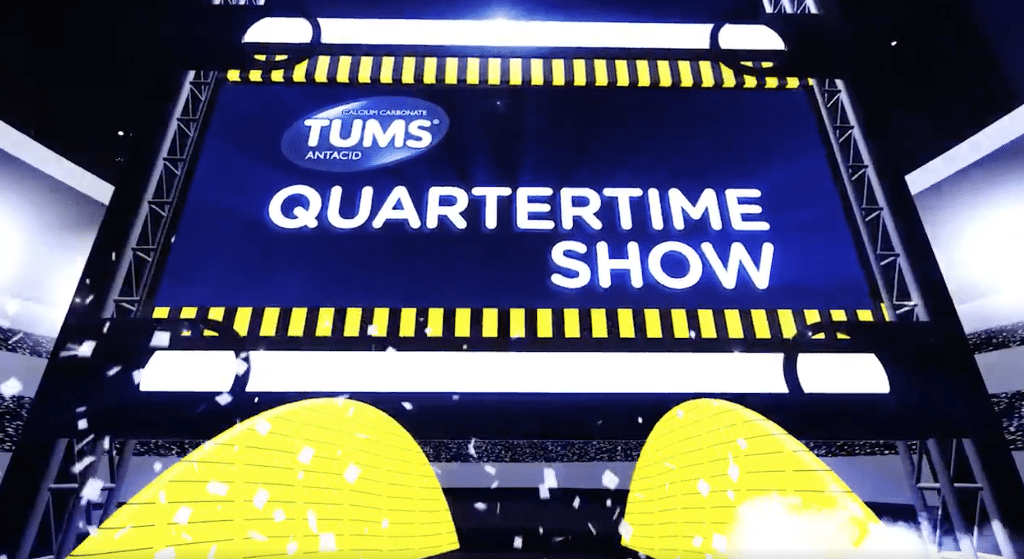 Tums Superbowl Quarter-time Show Presentation. Represents ASL's Video Crew's journey create video entertainment for Tums